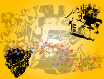 Engine shapes. Abstract yellow background with black engine shapes and bubbles Royalty Free Stock Photography