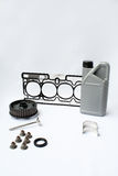 Engine spare parts. Few spare parts used in engine repair and maintenance Stock Photo