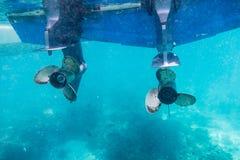 Engine speedboat propeller parked Stock Photography