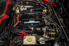 Engine of the sports car Alfa Romeo Montreal, 1975. Royalty Free Stock Images