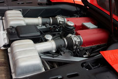 Engine of a sports car. Powerfull strong modern motor engine of a sports car Stock Photos