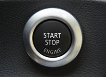 Engine start button. Detail of a luxury car interior Stock Photo