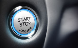Engine Start Button. Conceptual 3D render image with depth of field blur effect. Engine Start Button with room for text on the right side of the image, blue and Royalty Free Stock Photo