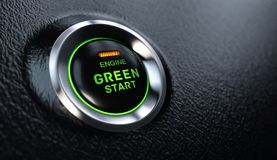 Engine Start Button Go Green Concept stock photos