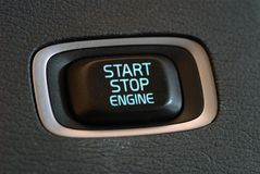 Engine start and stop button Royalty Free Stock Photo