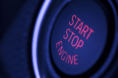 Engine start stop button in the car Royalty Free Stock Photo