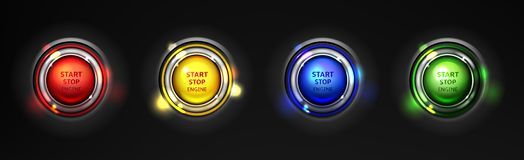 Engine start stop buttons realistic vector set vector illustration