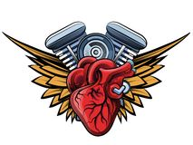 Engine tatoo label. Vector motorcycle engine with wings tatoo label Royalty Free Stock Images