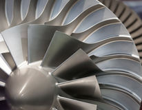 Engine turbine. Blading close-up Stock Photos