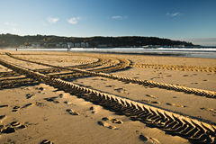 Engine tyre trace track on a sandy beach in hendaye Stock Photos
