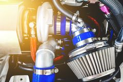 Air filter and Turbo charger. Engine up grade kit for power up; Thailand, 2018 royalty free stock image