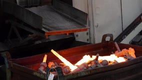Engine valves - hot metal - heavy industry stock footage