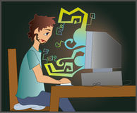 IT engineer. Illustration of a IT engineer  working in the night Royalty Free Stock Images