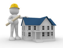 Engineer. 3d people- human character - engineer and house. 3d render illustration Stock Image