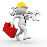 Engineer. 3d people - man, person with toolbox and wrench. Engineer vector illustration