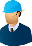 Engineer. An engineer with pencil and hat Stock Image