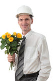 Engineer against white background Royalty Free Stock Photo