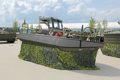 Engineer amphibious boat. KUBINKA, MOSCOW OBLAST, RUSSIA - JUN 15, 2015: International military-technical forum ARMY-2015 in military-Patriotic park. Engineer royalty free stock image