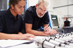 Engineer And Apprentice Planning CNC Machinery Project Royalty Free Stock Photos