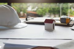 Engineer and Architect concept, Engineer Architects and real estate agent office desk.  stock images