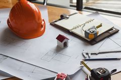 Engineer and Architect concept, Engineer Architects and real estate agent office desk.  stock photography