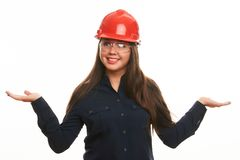 Engineer or architect construction worker woman in protective hard hat Stock Photo