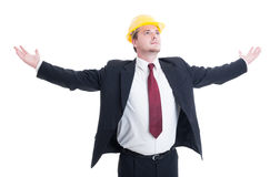 Engineer, architect or contractor with arms outspread and outstr Stock Photography