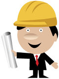 Engineer or architect with helmet and blueprints. Cartoon of an engineer or architect wearing a yellow protection helmet and standing with blueprints Royalty Free Stock Photo
