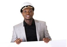 Engineer / architect man showing blank sign Royalty Free Stock Photography