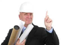 Engineer architect smile and make no hand sign in a business interview.  stock video