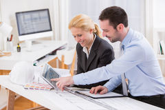 Engineer and architect working at the office Royalty Free Stock Photo
