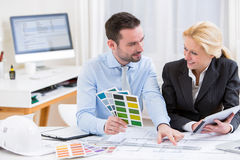 Engineer and architect working at the office Stock Photos