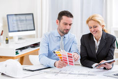 Engineer and architect working at the office Royalty Free Stock Image