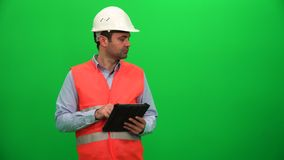 Engineer or Architecture Making Presentation with Tablet on Digital Screen. Left Side. stock footage