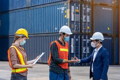 Free Engineer Assistant Inspector Protect Body By Wearing Mask,helmet And Wash Hand With Alcohol Before Entering Warehouse Or Factory Royalty Free Stock Photos - 187569248