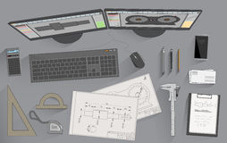 Engineer attributes. Working place of mechanical design engineer vector illustration