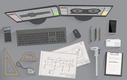 Engineer attributes vector illustration