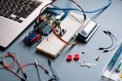 Engineer background with microcontroller Stock Photography