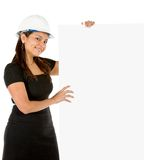 Engineer with a banner Stock Images