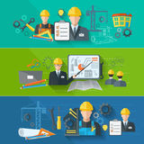 Engineer banner flat set Stock Images
