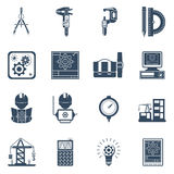 Engineer Black Icons Set. Construction engineer holding project schema black icons set with equipment tools and machinery abstract vector Stock Images