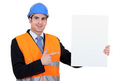 Engineer with a blank board Royalty Free Stock Photo