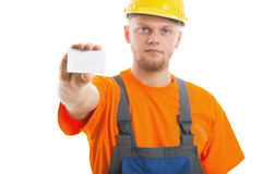 Engineer with blank business card. Isolated Royalty Free Stock Photos