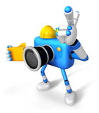 Engineer Blue Camera Character on the left hand Holding in folde Royalty Free Stock Image