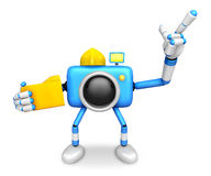 Engineer Blue Camera Character on the left hand Holding in folde Stock Images