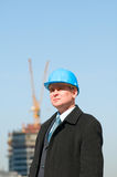 Engineer with blue hardhat Stock Photos