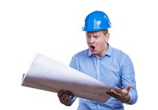 Engineer in blue helmet Royalty Free Stock Photography