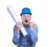 Engineer in blue helmet Stock Photography