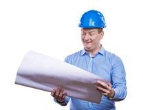 Engineer in blue helmet Royalty Free Stock Images