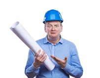 Engineer in blue helmet Royalty Free Stock Photo